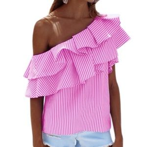 NWOT striped one shoulder ruffle top.